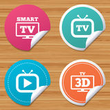 Smart 3D TV mode icon. Retro television symbol. Round stickers or website banners. Smart 3D TV mode icon. Widescreen symbol. Retro television and TV table signs Stock Photography