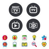 Smart 3D TV mode icon. Retro television symbol. Smart 3D TV mode icon. Widescreen symbol. Retro television and TV table signs. Calendar, Information and Stock Photos