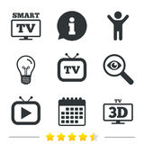 Smart 3D TV mode icon. Retro television symbol. Smart 3D TV mode icon. Widescreen symbol. Retro television and TV table signs. Information, light bulb and Stock Images