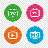 Smart 3D TV mode icon. Retro television symbol. Royalty Free Stock Image