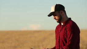 Smart, das unter Verwendung der modernen Technologien in der Landwirtschaft bewirtschaftet Landwirthände berühren digitale Tablet stock video