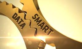 Smart Data on Golden Metallic Gears. 3D. Stock Photo