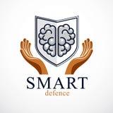 Smart Defense, concept of intelligent software antivirus or fire royalty free illustration