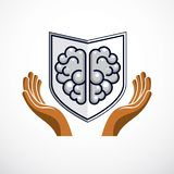 Smart Defense, concept of intelligent software antivirus or firewall. Human anatomical brain composed with guard ammunition shield. Vector logo or icon stock illustration