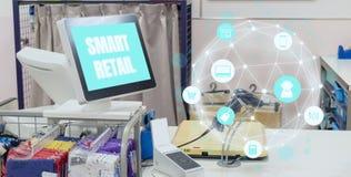 Smart detaljhandel i futuristiskt teknologibegrepp symbolsshowen blockchainbetydelsen inklusive lagret, kunden, detaljhandel, sho royaltyfri fotografi