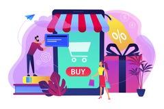 Smart detaljhandel i smart stadsbegreppsillustration royaltyfri illustrationer