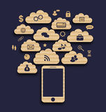 Smart device with cloud of application icons, busi Stock Images