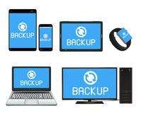 Smart device and computer backing up data Stock Images