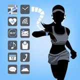 Smart device concept - fitness woman with blue background Stock Image