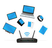 Smart device connecte with router. A smart device connecte with router stock illustration