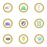Smart device icons set, cartoon style Royalty Free Stock Photos