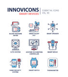 Smart Device - modern vector line icons set Stock Photos