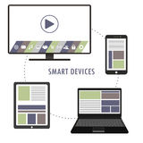 Smart device- smartphone, laptop, TV, tablet pc, flat design, Royalty Free Stock Images
