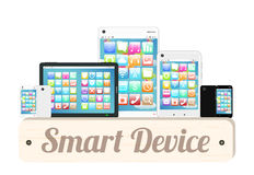 Smart device wood board with smart phone and tablet Royalty Free Stock Images