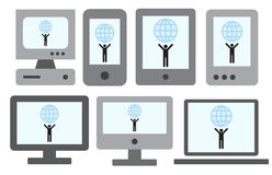 7 SMART DEVICES with a man holding the World on the screen Stock Image