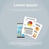 Smart diagram Infographics för telefonfinansdokument Fotografering för Bildbyråer