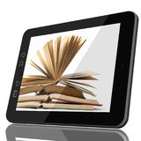 Smart Digital Library Concept - Tablet Computer and open book on royalty free stock image