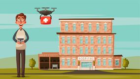 Smart doctor with drone. Modern hospital. Cartoon vector illustration Stock Photo