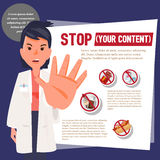 Smart doctor showing stop hand to warn. Stock Photography