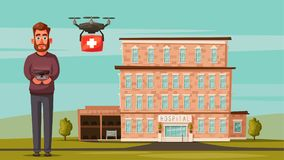 Smart doctor with drone. Modern hospital. Cartoon vector illustration Royalty Free Stock Photo