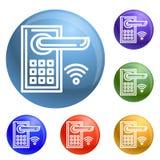 Smart door lock icons set vector royalty free illustration
