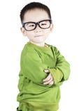 Smart e bambino di fiducia che esamina macchina fotografica Fotografia Stock Libera da Diritti