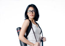 Smart e universitária da beleza com o portador do tubo do modelo Imagem de Stock Royalty Free
