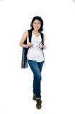 Smart e universitária da beleza com o portador do tubo do modelo Fotos de Stock Royalty Free