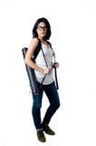 Smart e universitária da beleza com o portador do tubo do modelo Fotos de Stock