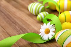 Smart Easter arrangement on wood Royalty Free Stock Photography