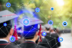 Smart education and education icon network connection with gradua. Tion in background, abstract image visual, internet of things concept stock photography