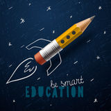 Smart education. Rocket ship launch with pencil - Royalty Free Stock Photos