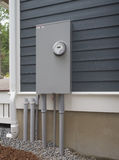 Smart electric utility meter and panel. On the side of a house Stock Image