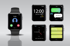 Smart electronic intelligence watch.Vector illustration Royalty Free Stock Photo