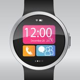 Smart electronic intelligence watch.Vector illustration Royalty Free Stock Photo