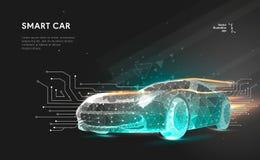 Smart eller intelligent bil royaltyfri illustrationer
