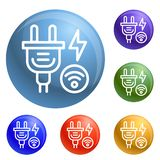 Smart energy plug icons set vector royalty free illustration