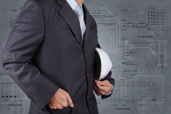 Smart engineer and electrical diagram background Stock Photo