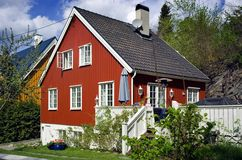 Smart European House. Painted red Royalty Free Stock Images
