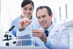 Smart experienced doctor holding test tubes stock photo