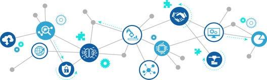 Smart fabrik, smart bransch, iotbegrepp: stora data-/molnlösningar/innovativ produktion/simulering royaltyfri illustrationer