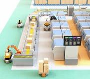 Smart fabrik med AGV, robotbäraren, skrivare 3D och det robotic plockningsystemet royaltyfri illustrationer