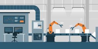 Smart fabrik och produktionslinje stock illustrationer