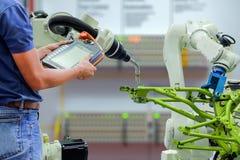 Smart fabrik på bransch 4 0 teknologi Arkivbilder