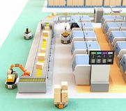 Smart factory with AGV, robot carrier, 3D printers and robotic picking system. 3D rendering image Stock Image