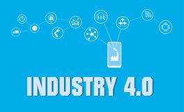 Smart factory concept. Industrial internet of Things. Sensor Network. Modern digital factory Vector Royalty Free Stock Image