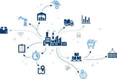 Smart factory / customized logistics processes / enterprise iot – illustration. Abstract concept in blue color with a stylized factory in the center vector illustration