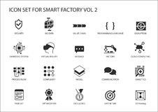 Smart factory  icons like sensor, rfid, production process, automation, augmented reality Royalty Free Stock Photo