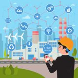 Smart factory concept. Businessman manages plant royalty free illustration