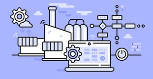 Smart factory processes. This is illustration in flat style depicting industrial work processes, factory operations and management royalty free illustration